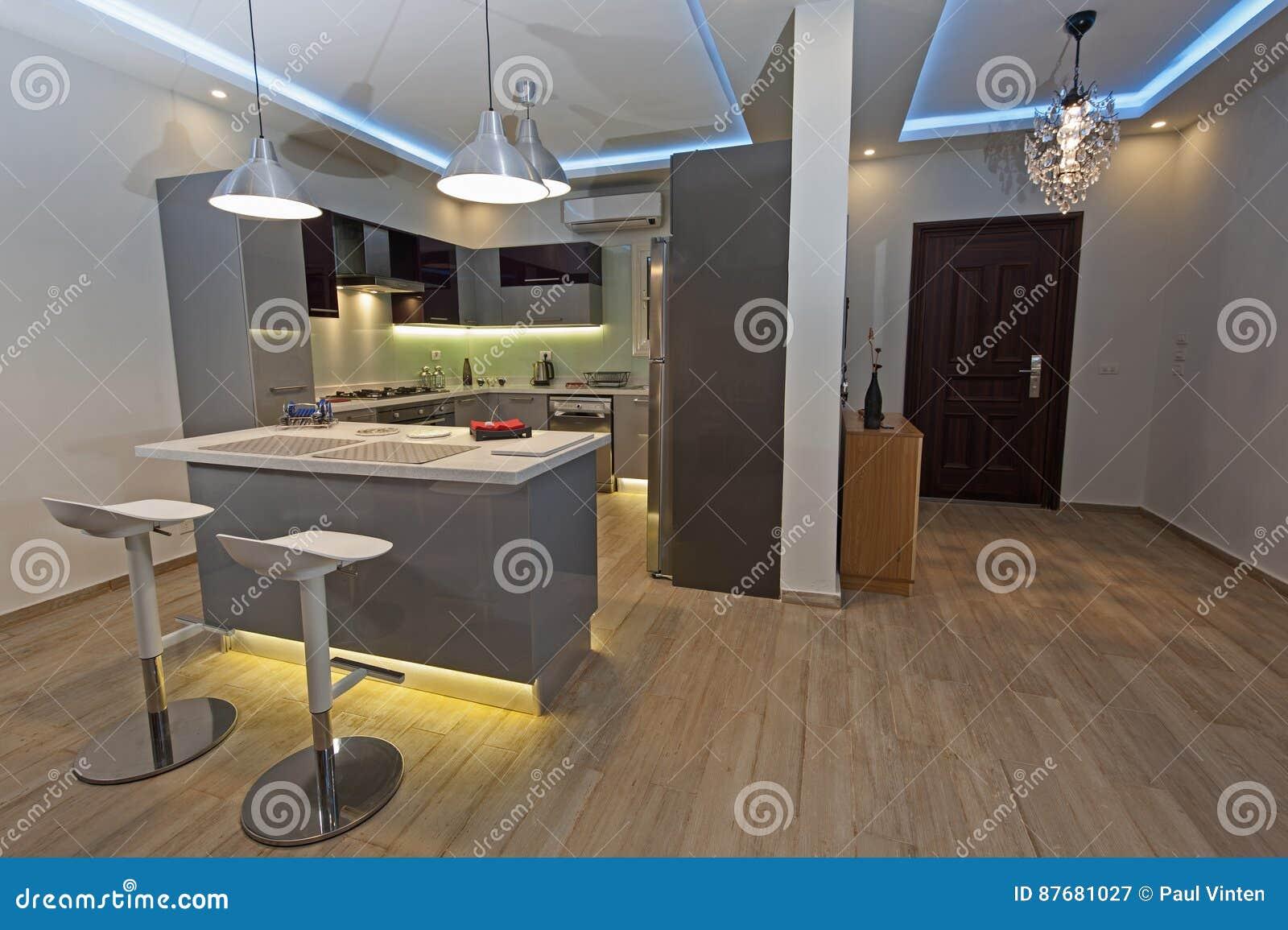 Cucina Moderna In Un Appartamento Di Lusso Immagine Stock ...