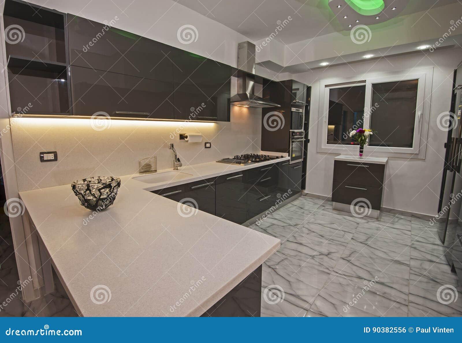 Cucina Moderna In Un Appartamento Di Lusso Fotografia Stock ...