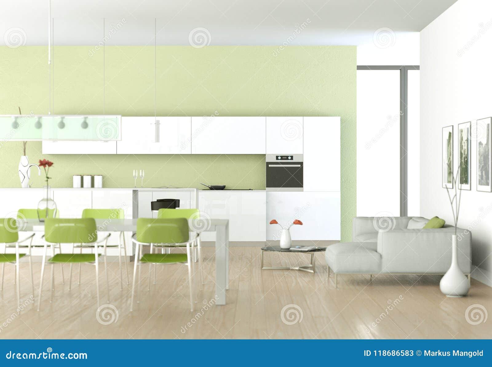 Cucina Moderna Verde In Una Stanza Con La Parete Di Pietra ...