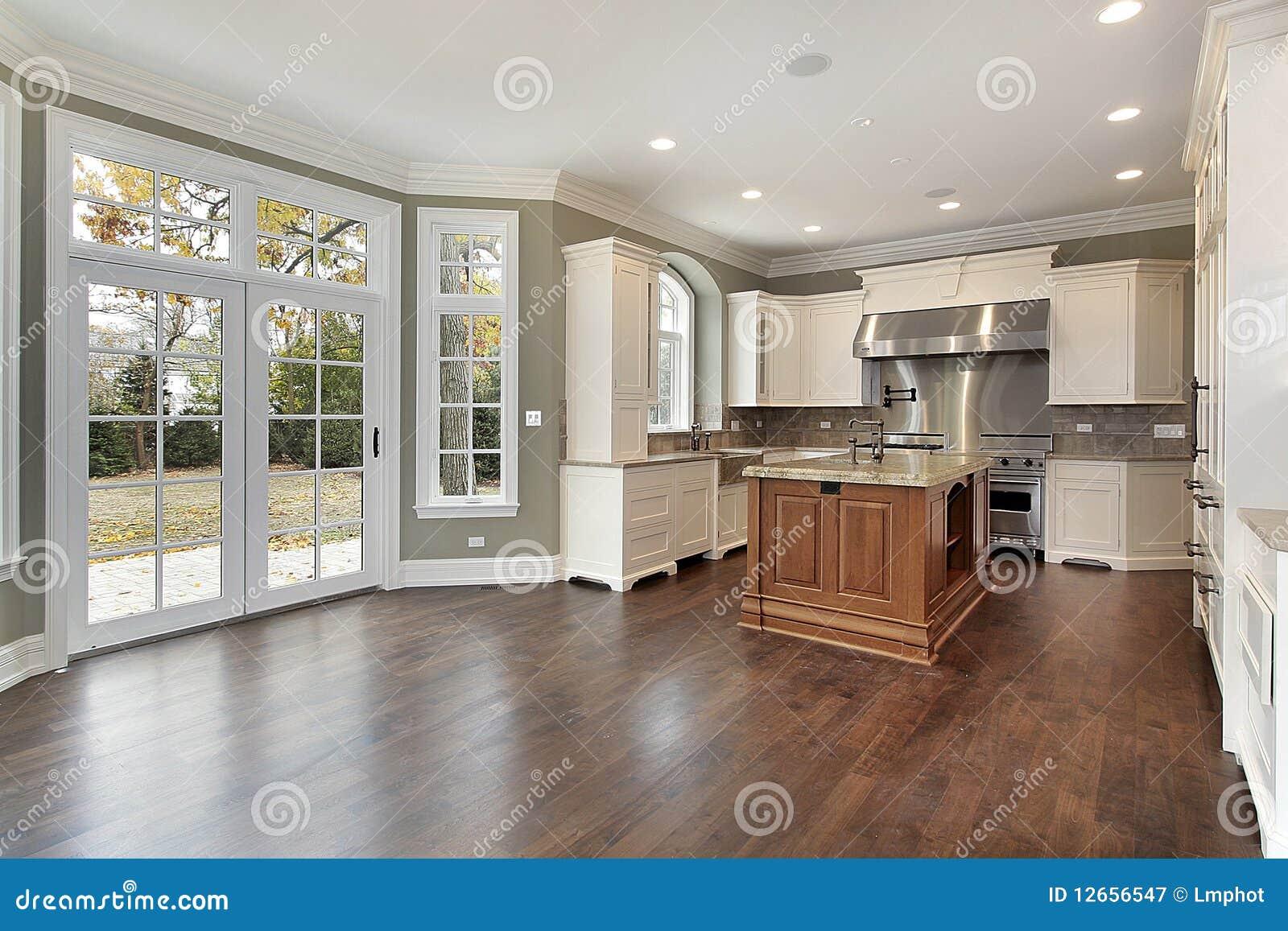 Cucina nella casa della nuova costruzione immagine stock for Piani di costruzione della casa libera