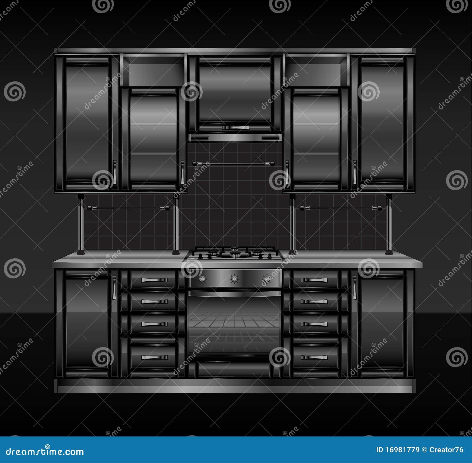 Cucina nera illustrazione vettoriale illustrazione di for Cucina nera