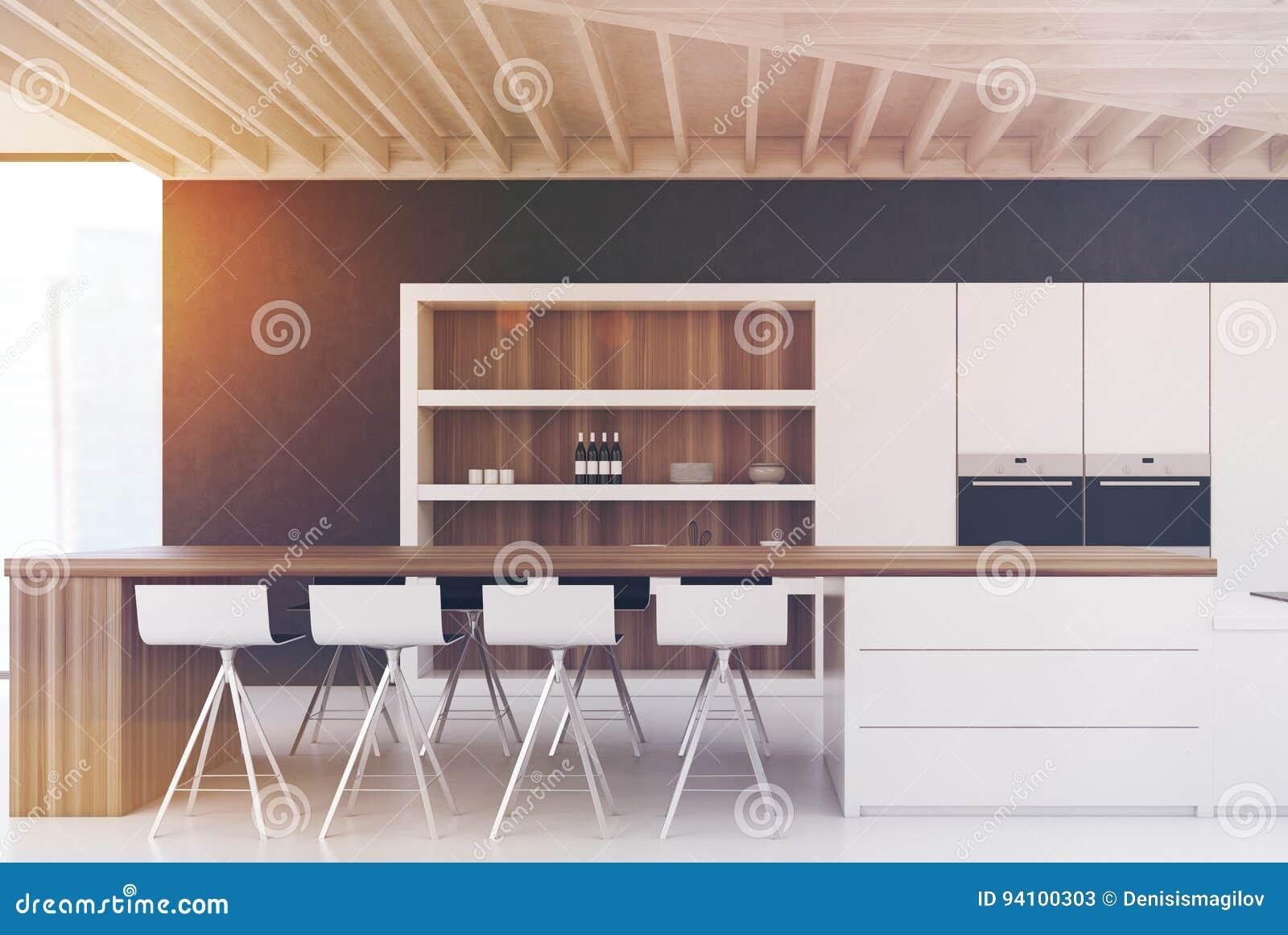 Cucina nera della parete con una barra tonificata illustrazione di