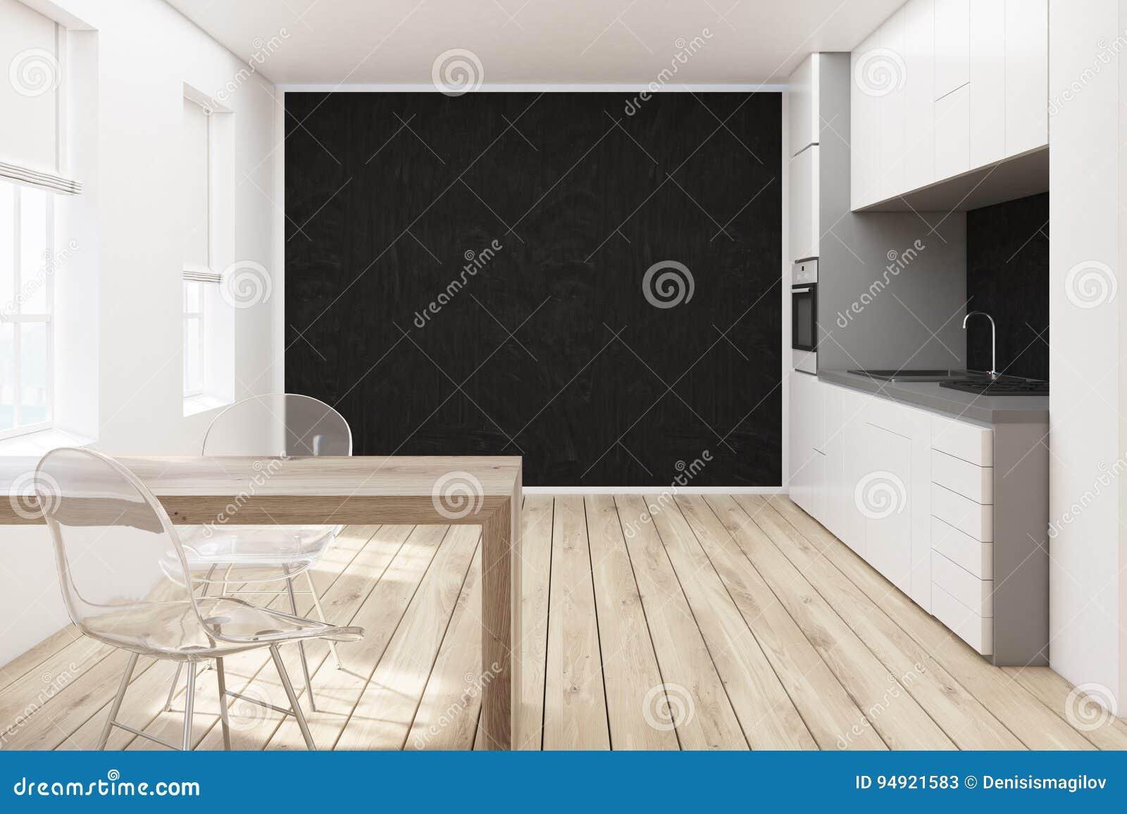 Cucina nera della parete sedie trasparenti illustrazione di stock