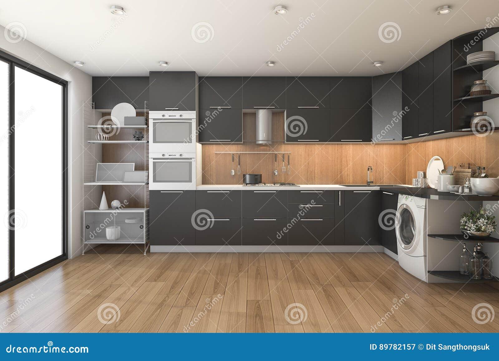 Cucina Nera Moderna Del Sottotetto Della Rappresentazione 3d Con La