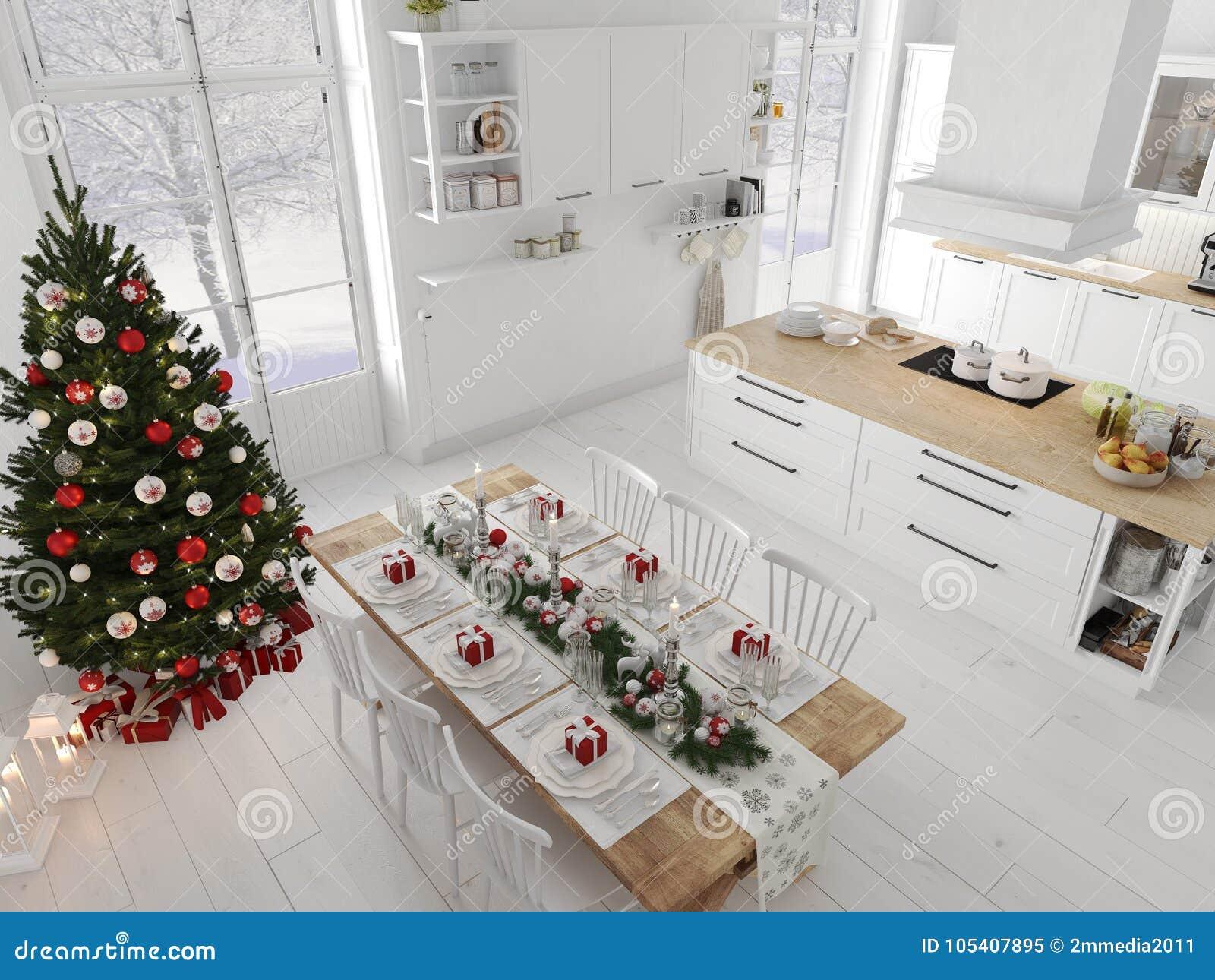 Cucina Nordica Con La Decorazione Di Natale Di Giorno ...