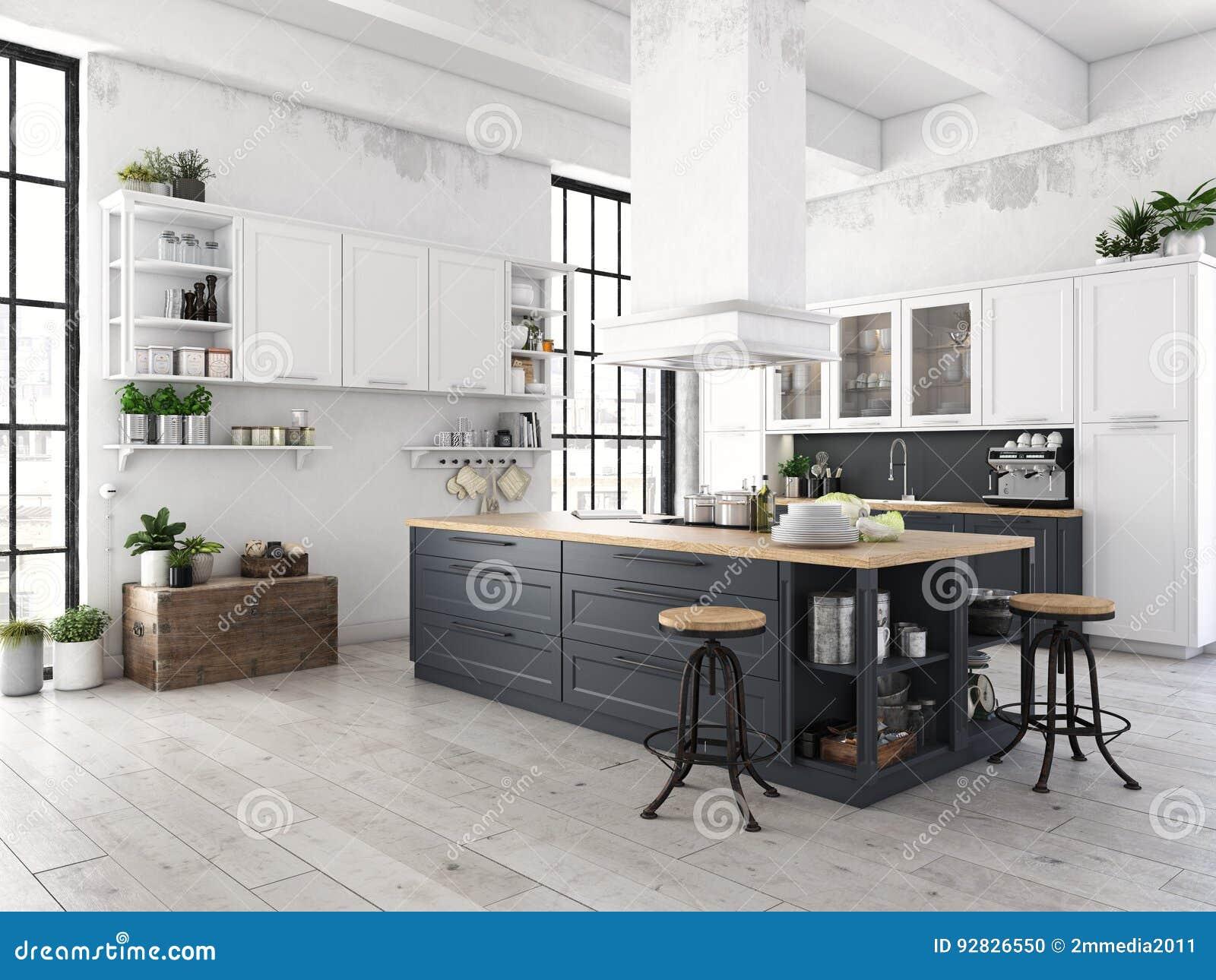 Cucina nordica moderna in appartamento del sottotetto rappresentazione 3d