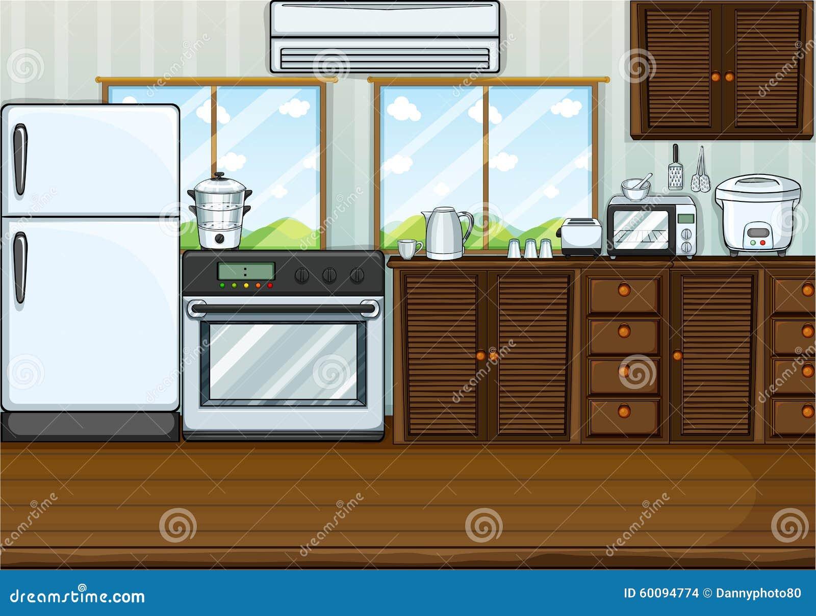 Cucina in pieno con mobili e accessori illustrazione vettoriale