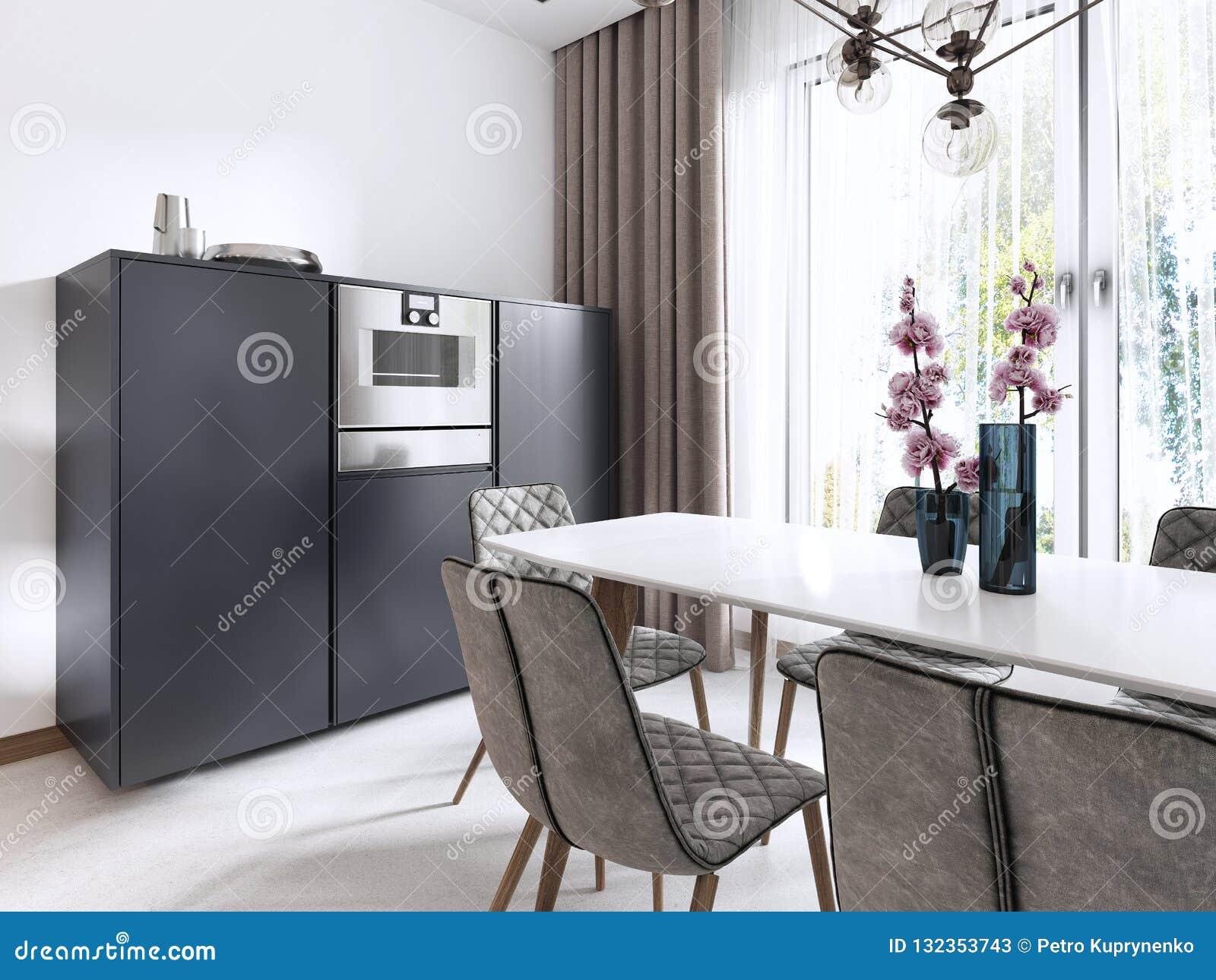 Cucina-pranzare stile contemporaneo della stanza in bianco ed in grigio con le grandi finestre e gli apparecchi incorporati nella