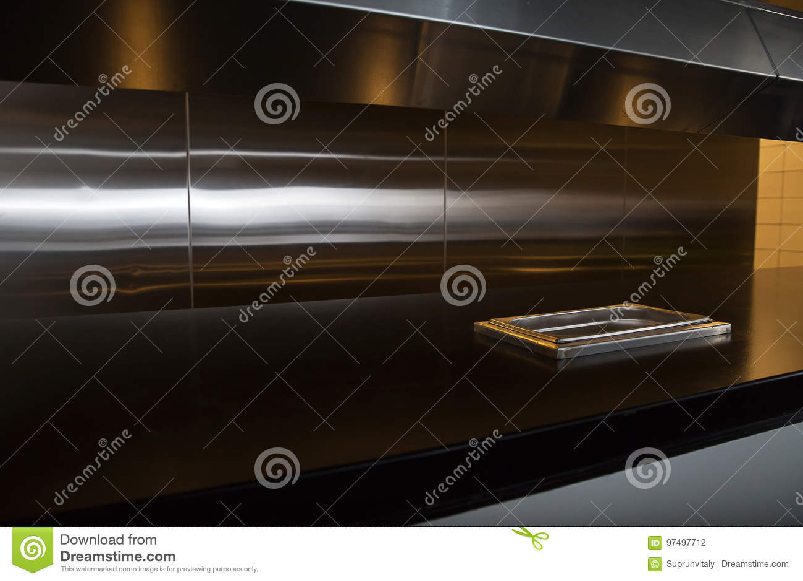 Cucina professionale, contatore di vista in acciaio