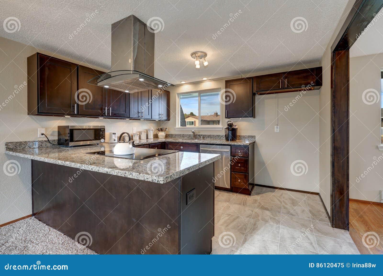 Cucina recentemente rinnovata con mobilia di legno scura for Mobilia download