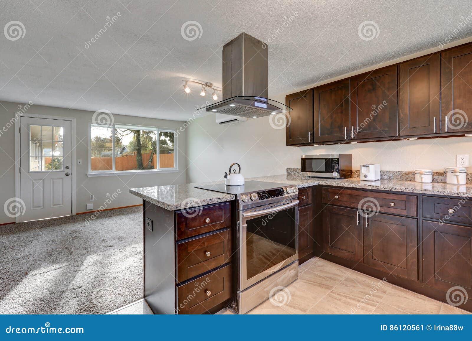 Cucina recentemente rinnovata con mobilia di legno scura for Mobilia spazio