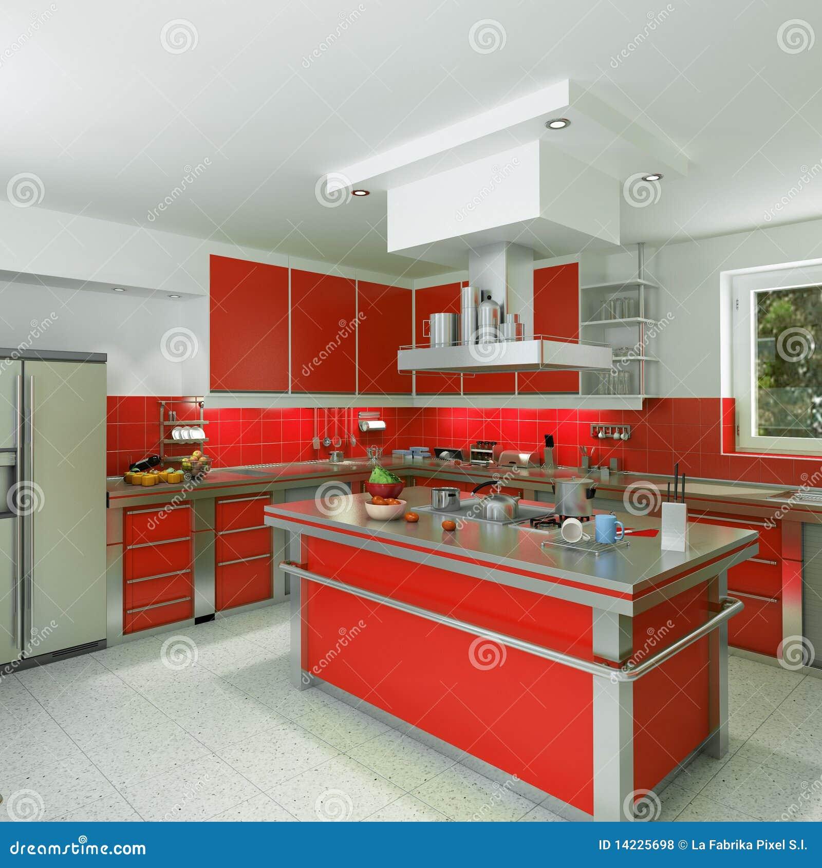 Cucina rossa moderna illustrazione di stock. Illustrazione ...