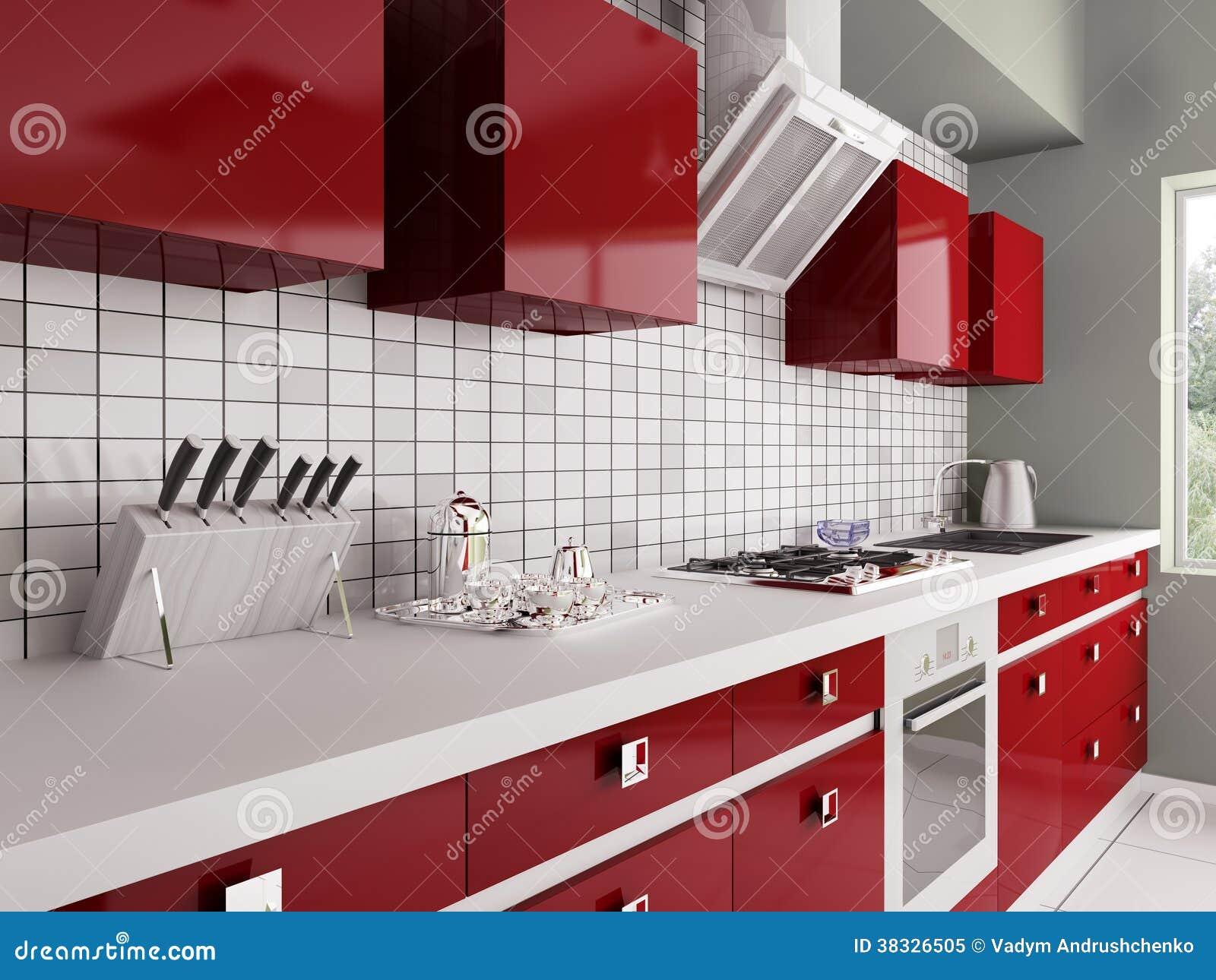 Cucina rossa moderna 3d interno fotografia stock libera da - Cucina moderna rossa ...