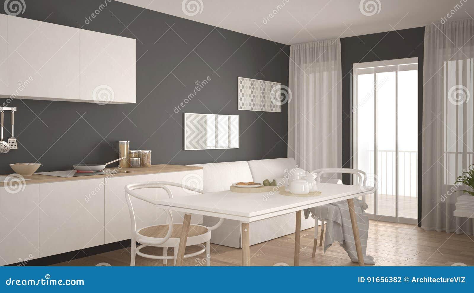 Pavimento Bianco E Grigio : Cucina scandinava con il sofà e la tavola pavimento di parquet di