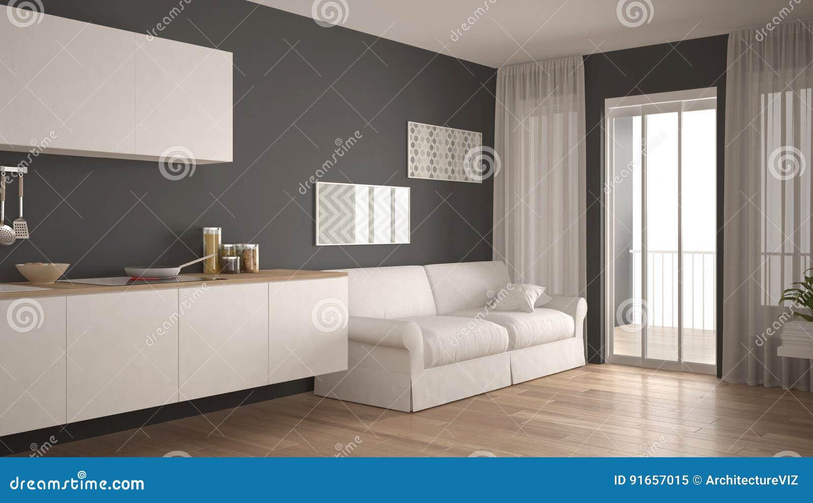 Pavimento Bianco E Grigio : Cucina scandinava con il sofà il pavimento di parquet di legno