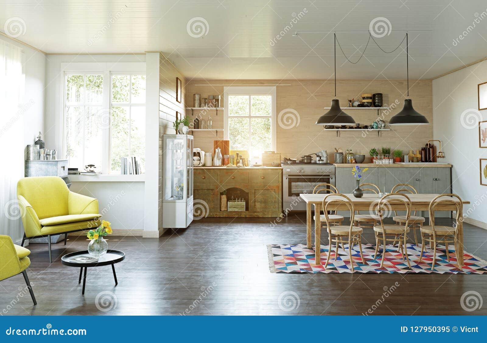 Cucina Stile Country Moderna Illustrazione di Stock ...