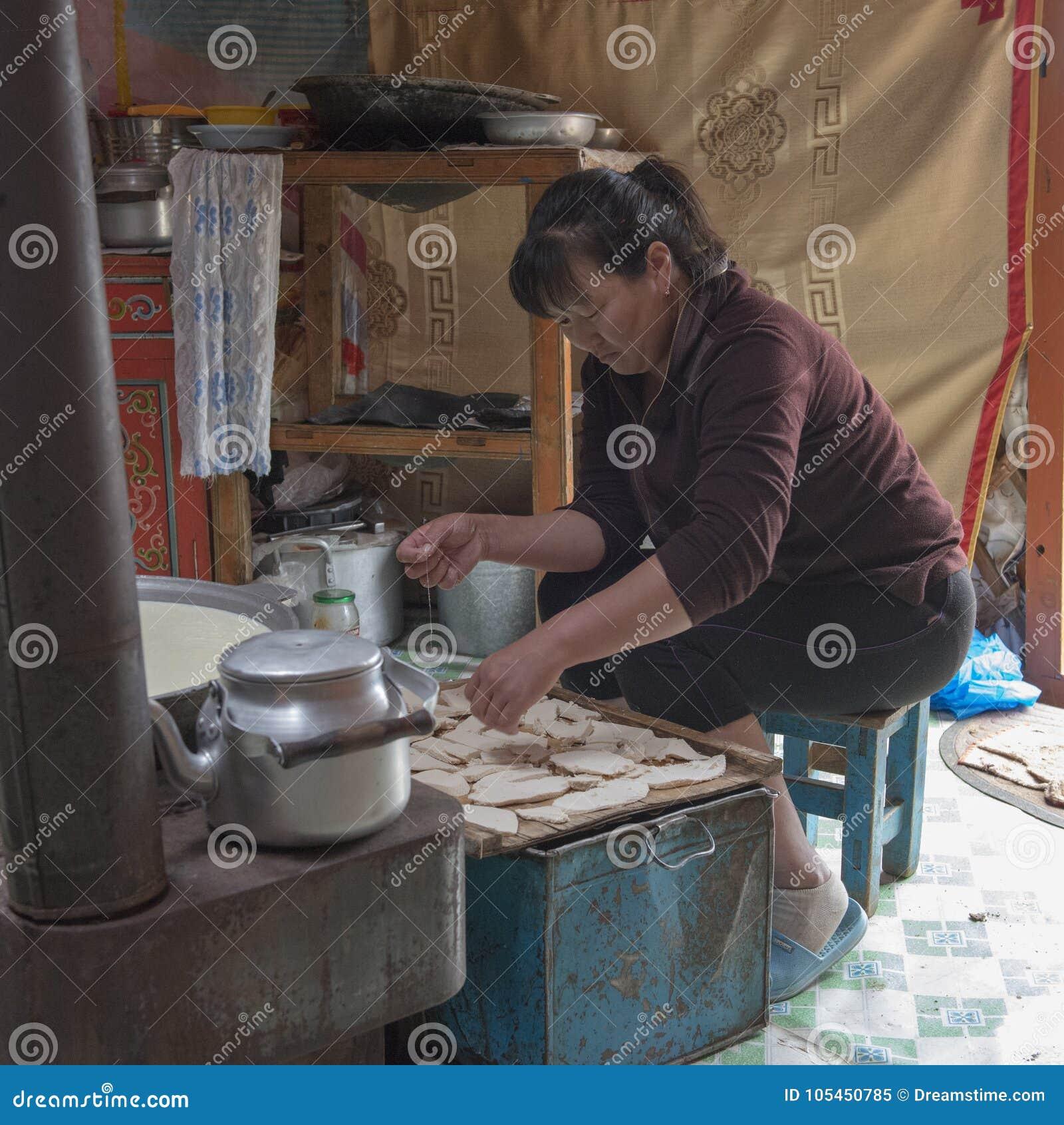 Cucinando a GER con una famiglia del nomade nel mongolian