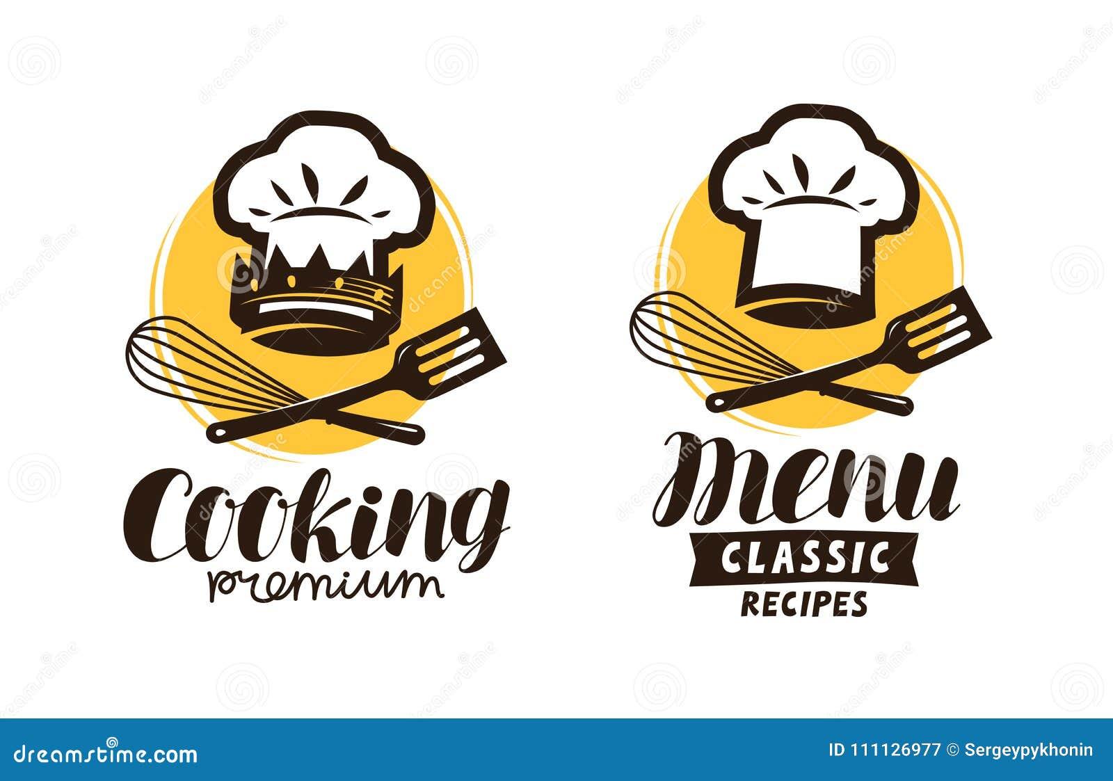 Cucinando Logo Di Cucina Etichetta Per Il Menu Del Caffe O Del
