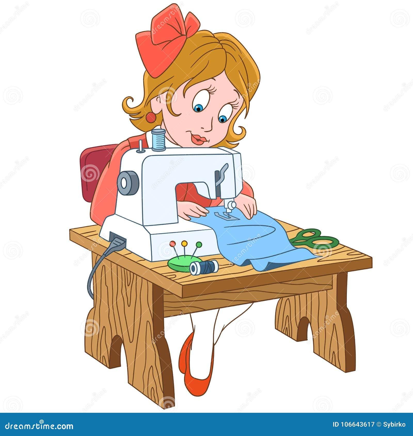 Cucitrice del fumetto che lavora alla macchina per cucire elettrica