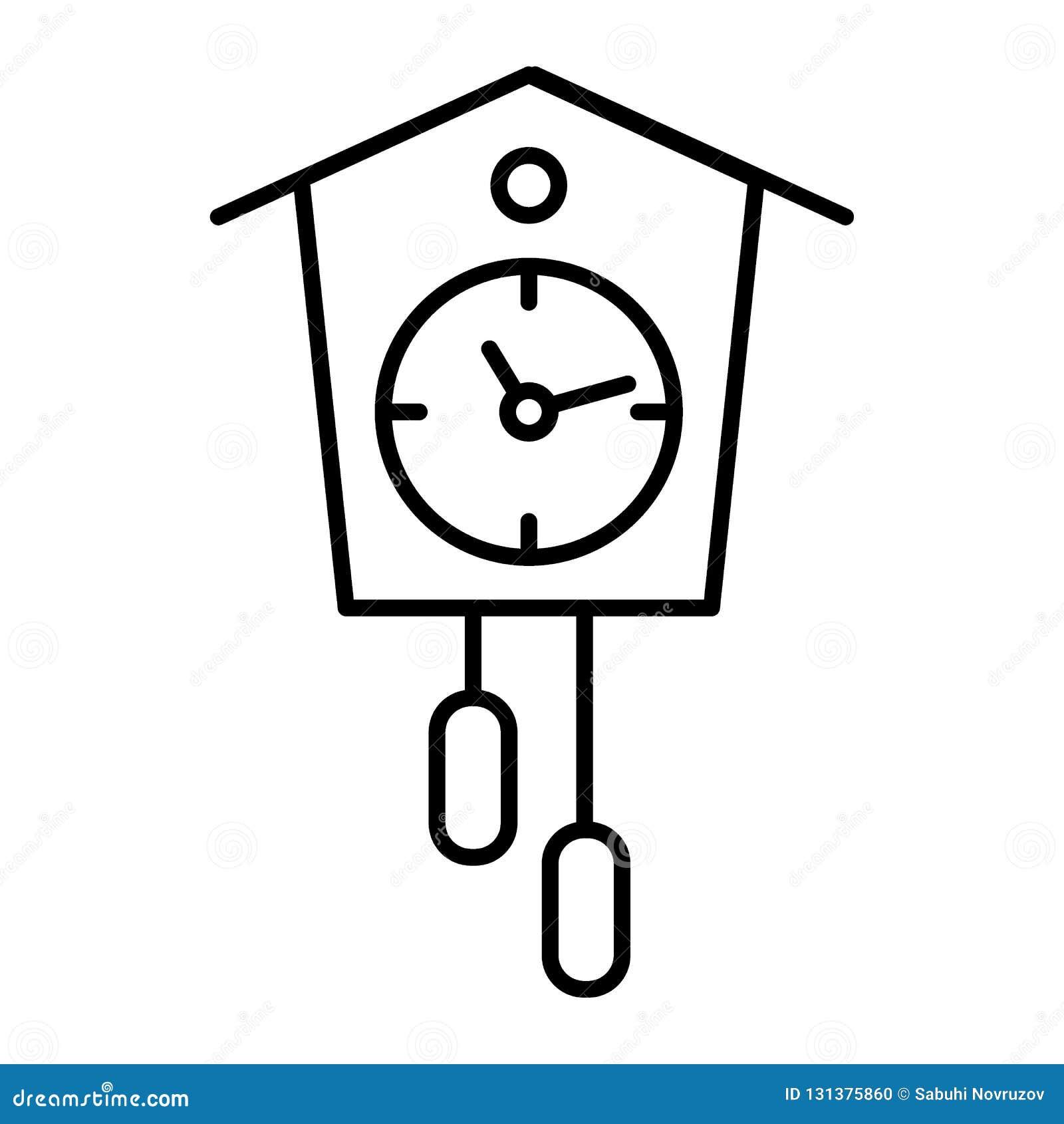 Cuckoo-clock Thin Line Icon  Old Clock Vector Illustration