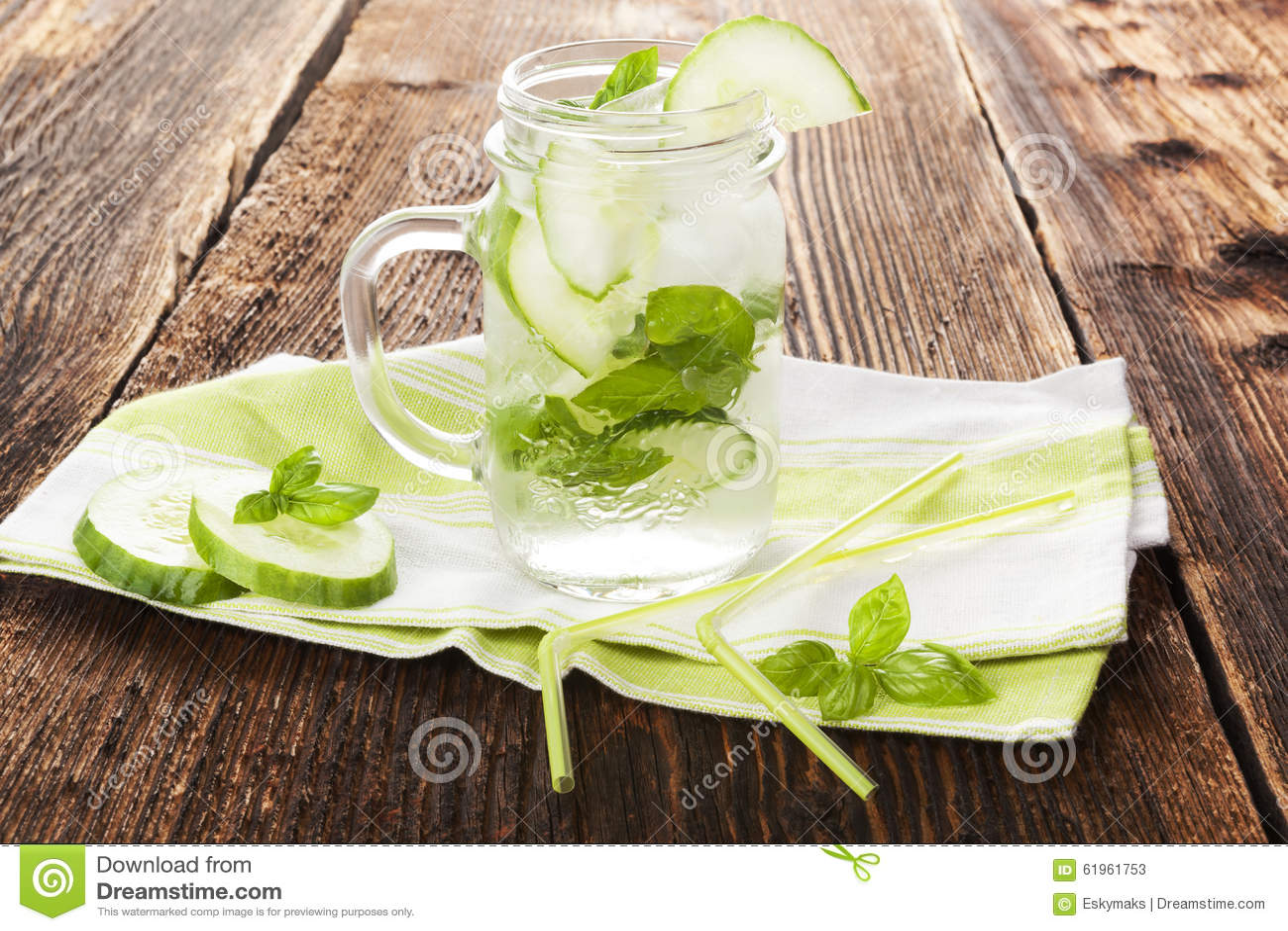 Cucumber basil lemonade on rustic wooden background. Healthy summer ...