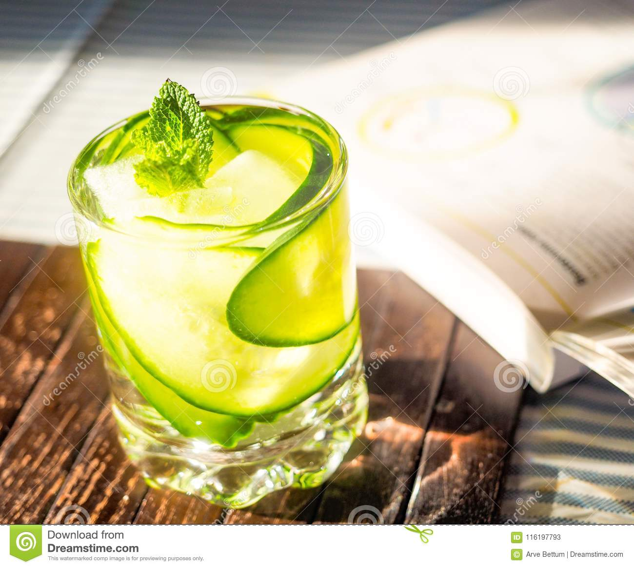 Cucumber drink on book