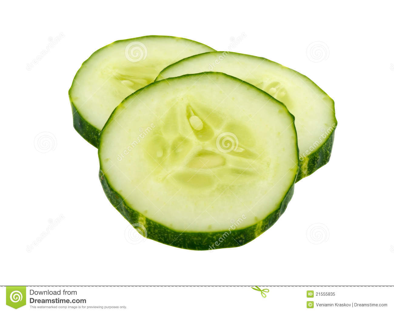 Sliced cucumber isolated on white background. Clipping path included.