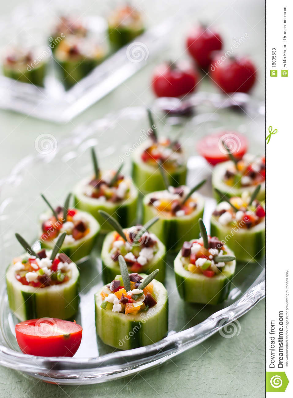 Cucumbers with fresh vegetables