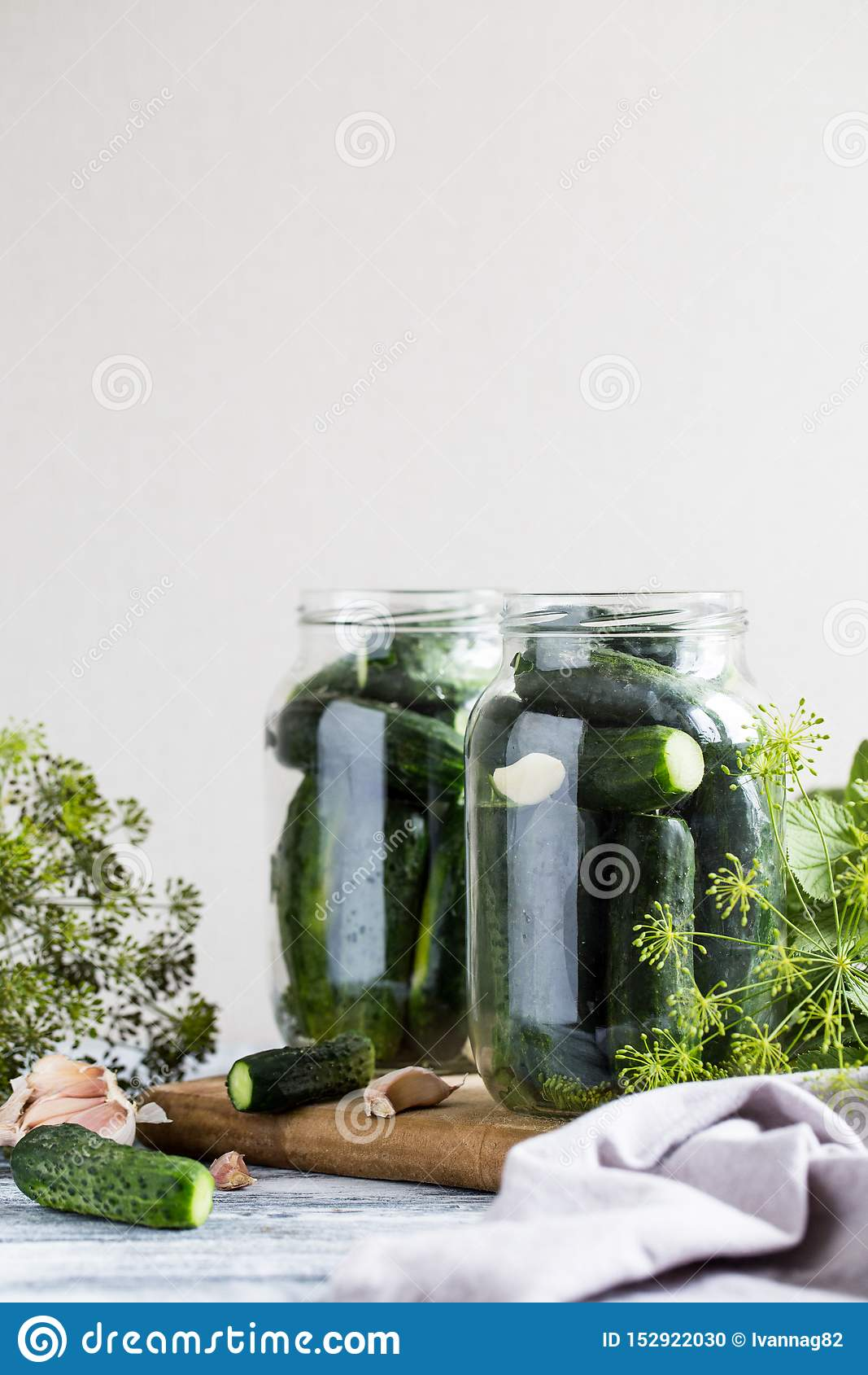 Cucumbers Spices And Herbs In A Preservation Jar Homemade