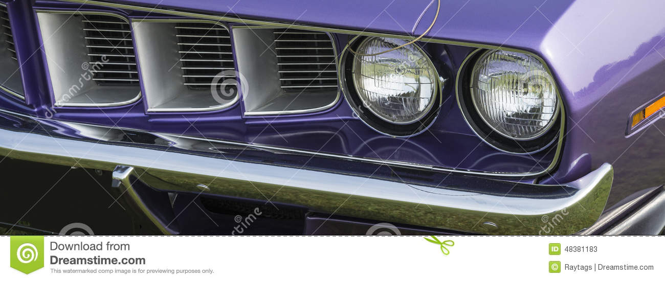 Old Plymouth Headlight : Cuda front grill stock photo image