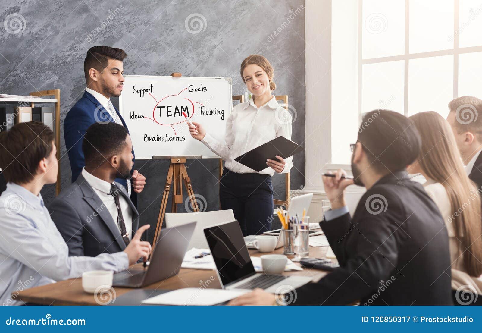 Cudzoziemski partner robi biznesowej prezentaci