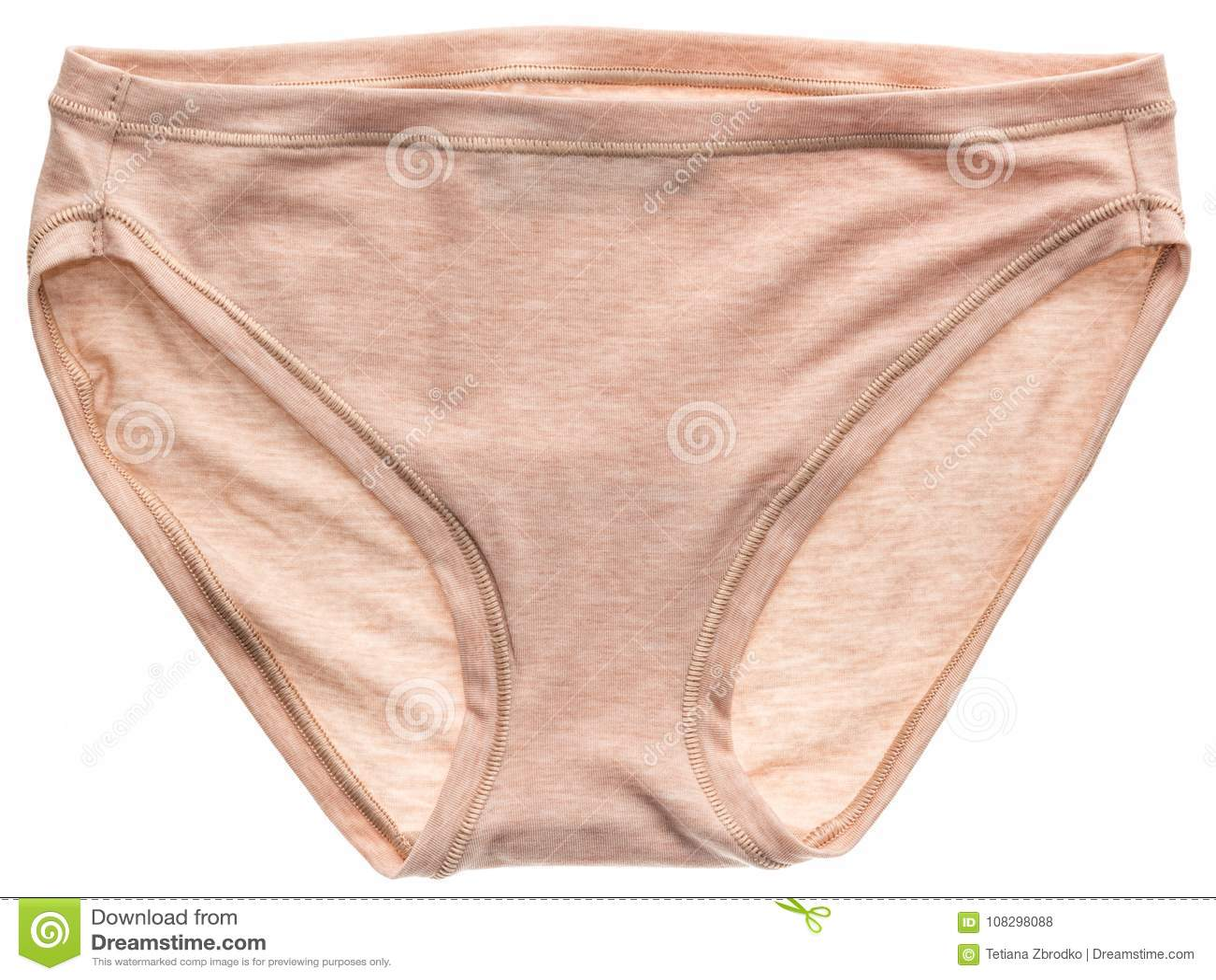 29653df06 Cuecas bege do algodão do ` s das mulheres isolada no fundo branco roupa  interior bege