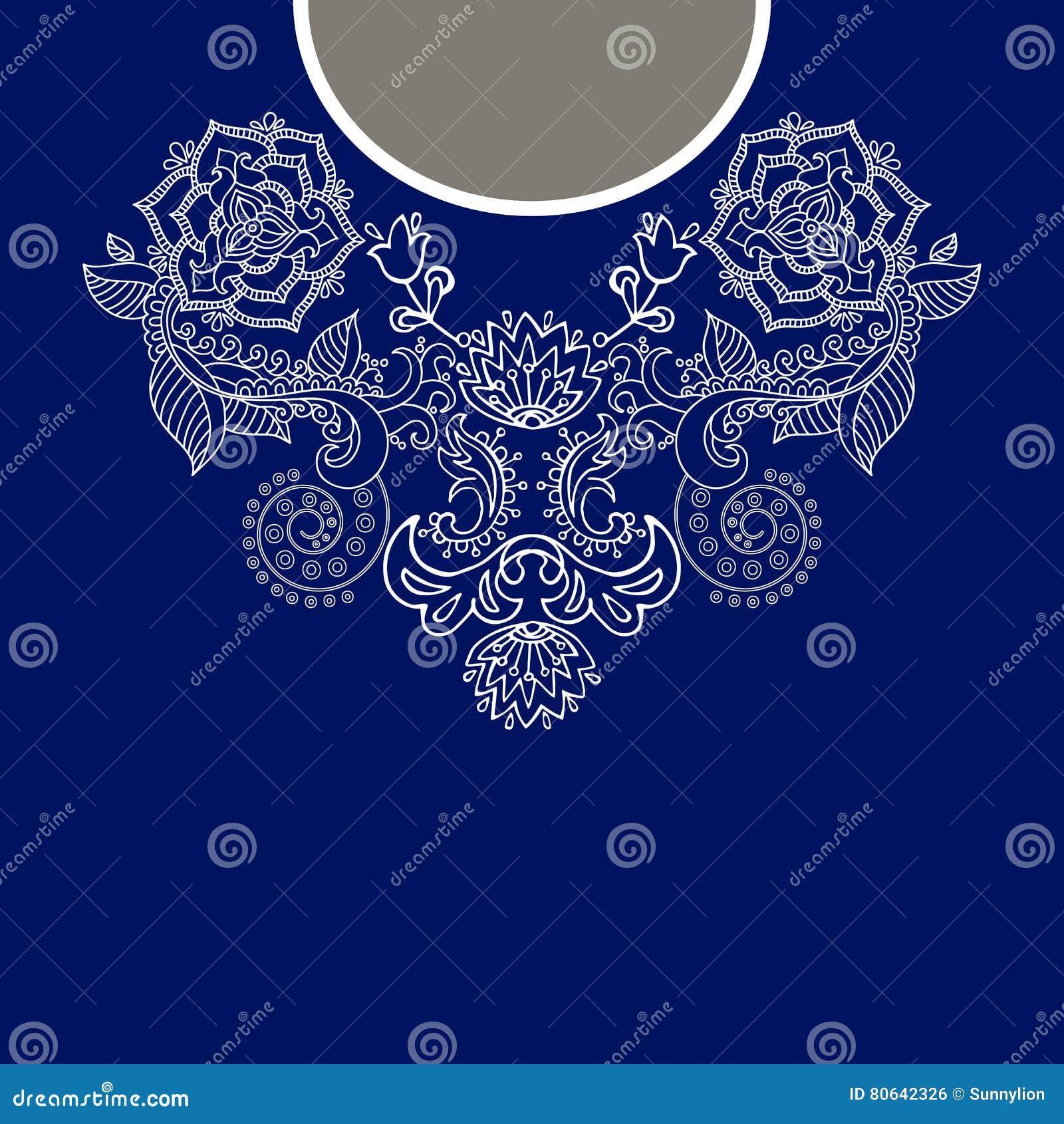 Cuello étnico de dos flores de los colores Frontera decorativa de Paisley