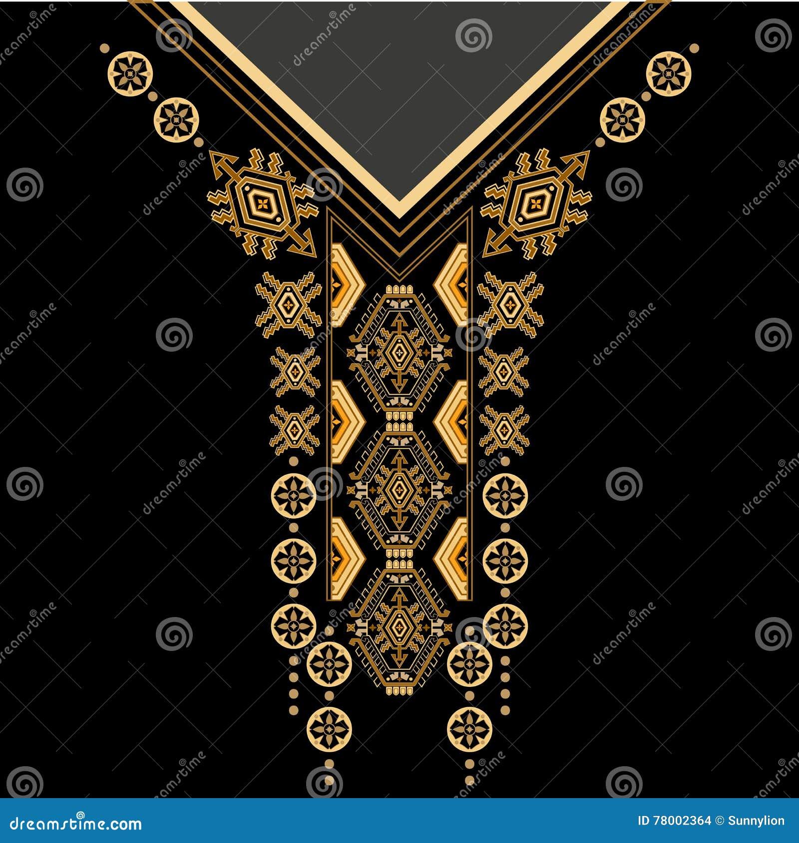 Cuello étnico de las flores de los colores negros y de oro Frontera decorativa de Paisley