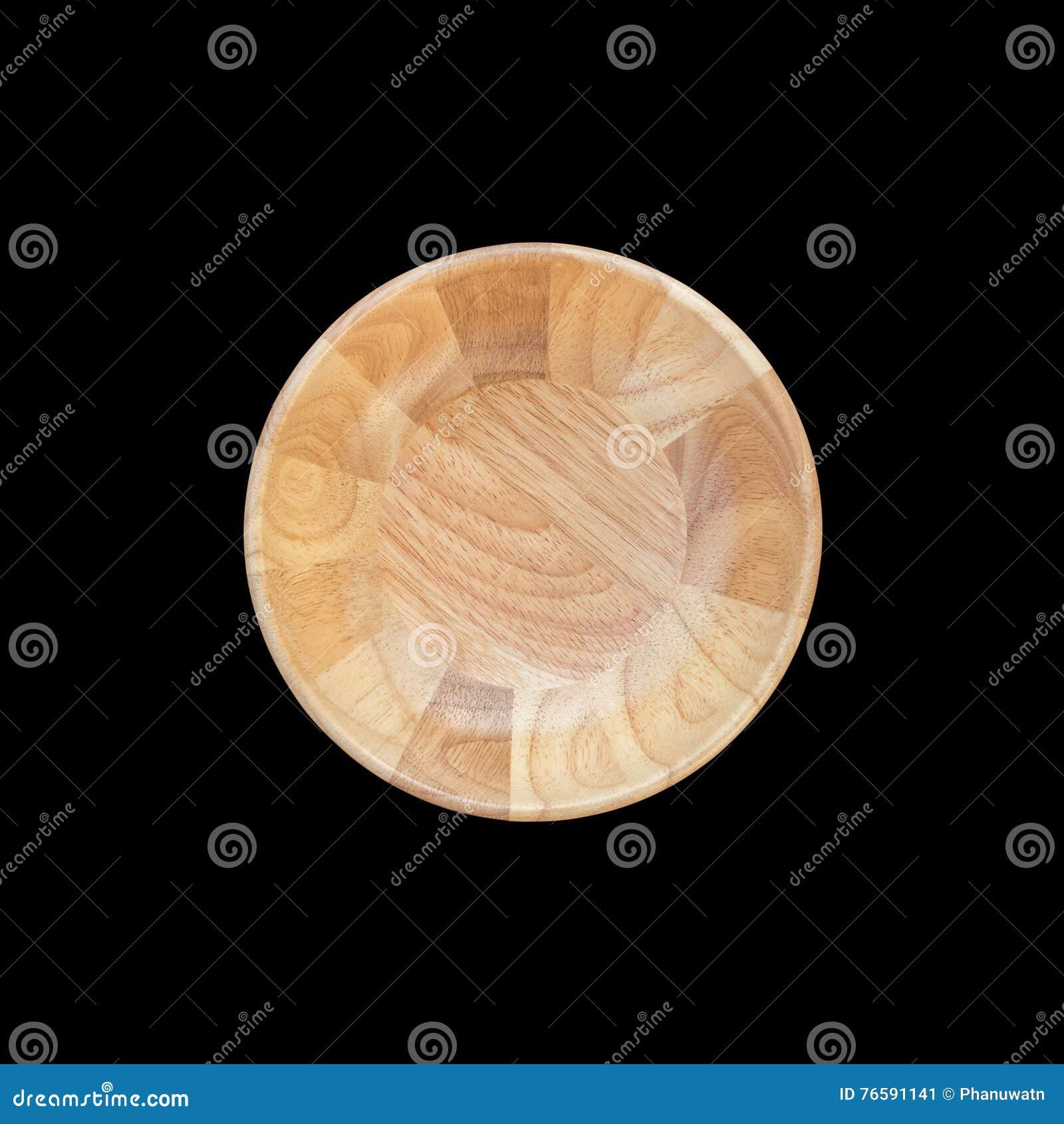 Cuenco de madera vacío brillante de la visión superior aislado en blanco Ahorrado con