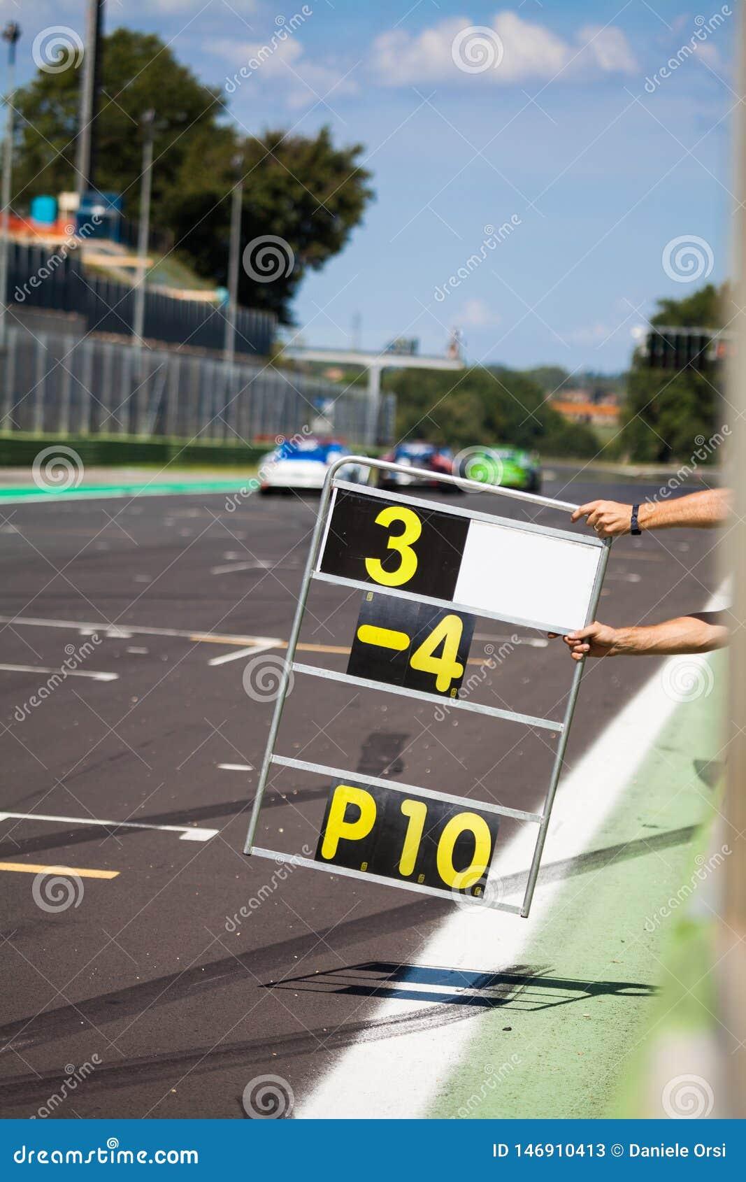 Cuenta de revestimientos en la pista durante la raza de supercars