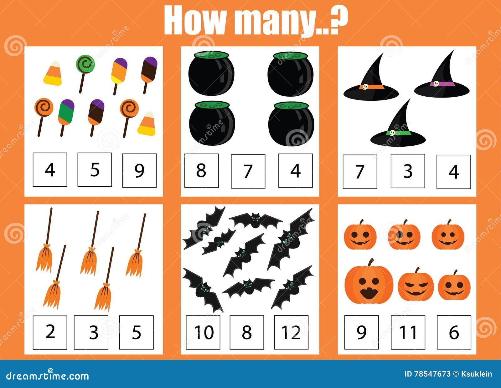 Perfecto Color De Halloween Por Hojas De Trabajo Numéricas Colección ...