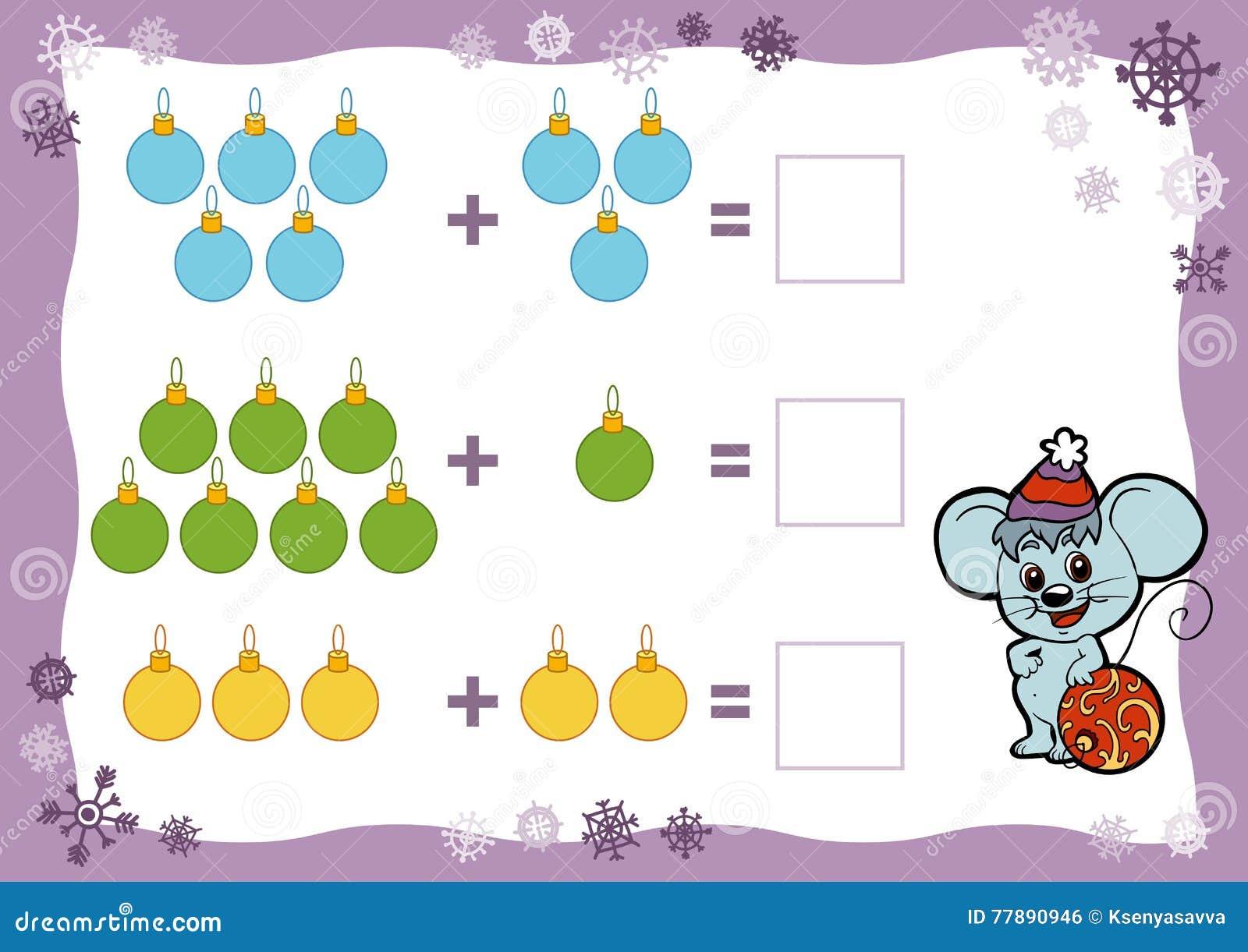 Cuenta del juego para los niños Hojas de trabajo de la adición Juguetes de la Navidad