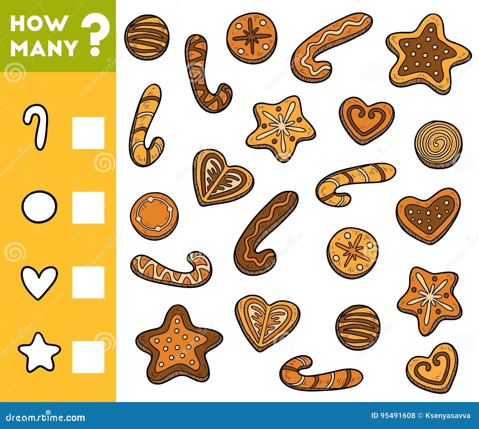 Cuenta del juego para los niños preescolares Cuente cuántas galletas