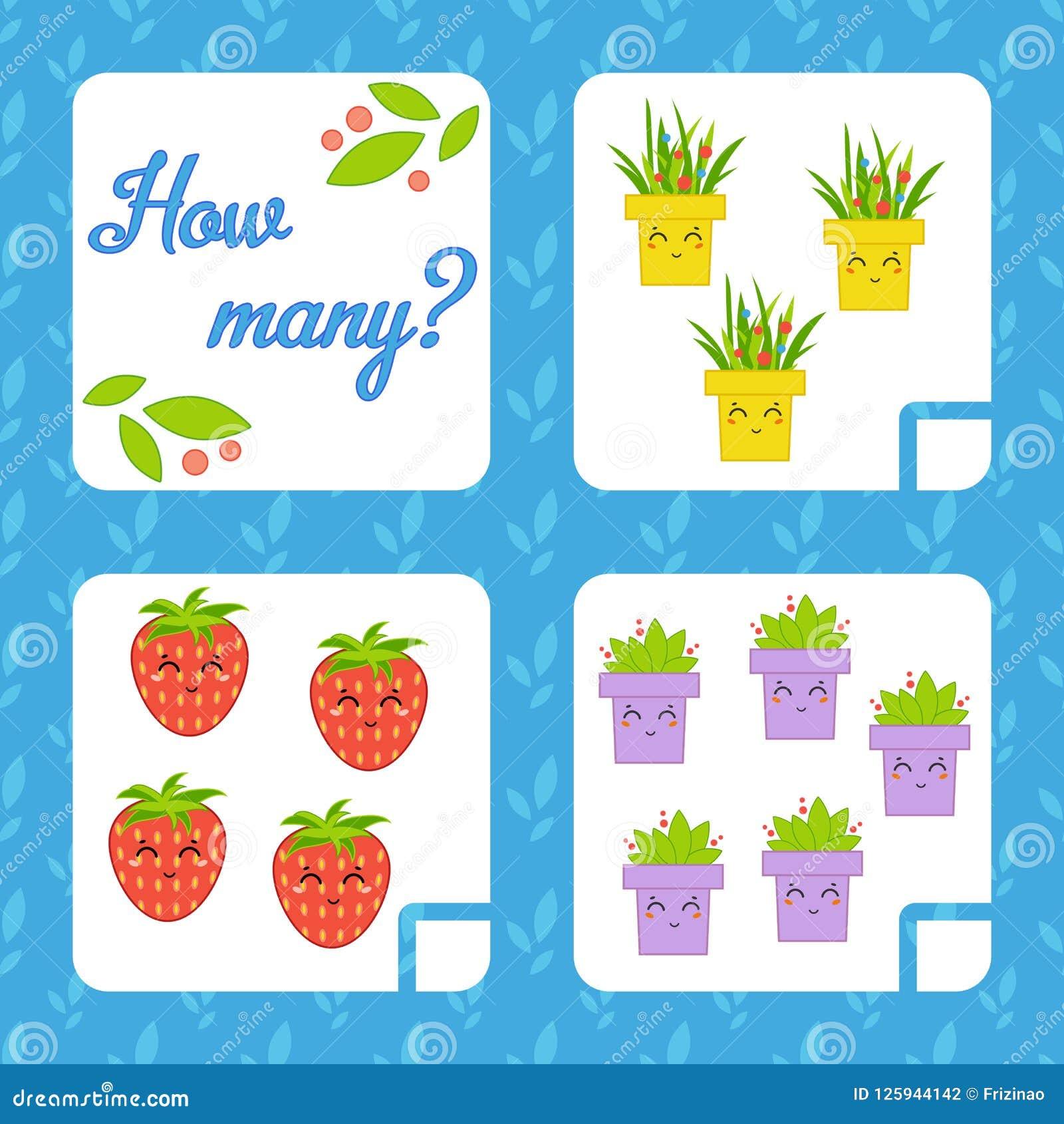 Cuenta del juego para los niños preescolares para el desarrollo de capacidades matemáticas Cuente el número de objetos en la imag