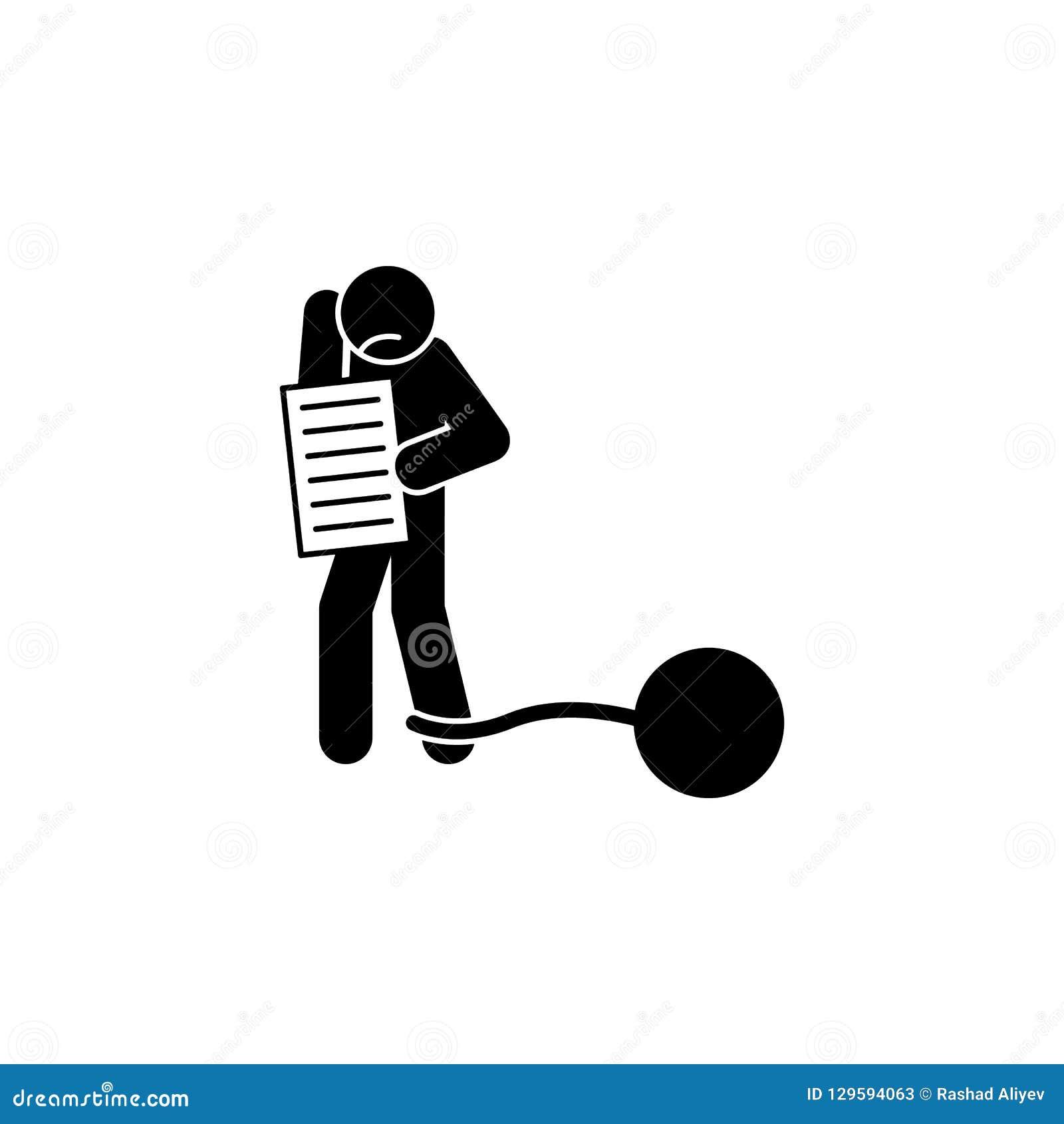 Cuenta, deuda, icono financiero Elemento de la juventud y del icono social del glyph de los problemas para los apps móviles del c