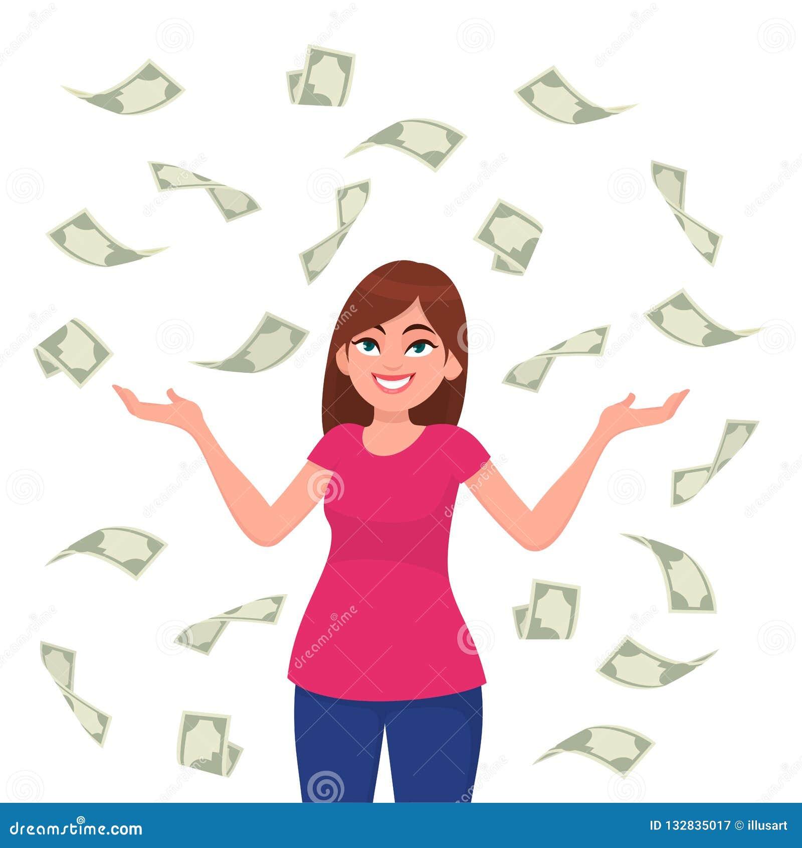 Cuentas de /currency del efectivo/del dinero/de los billetes de banco que caen alrededor de la mujer de negocios joven feliz acer