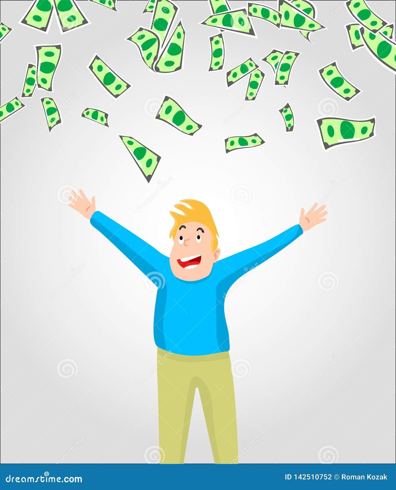 Cuentas del efectivo/del dinero/de moneda que caen alrededor de hombre joven