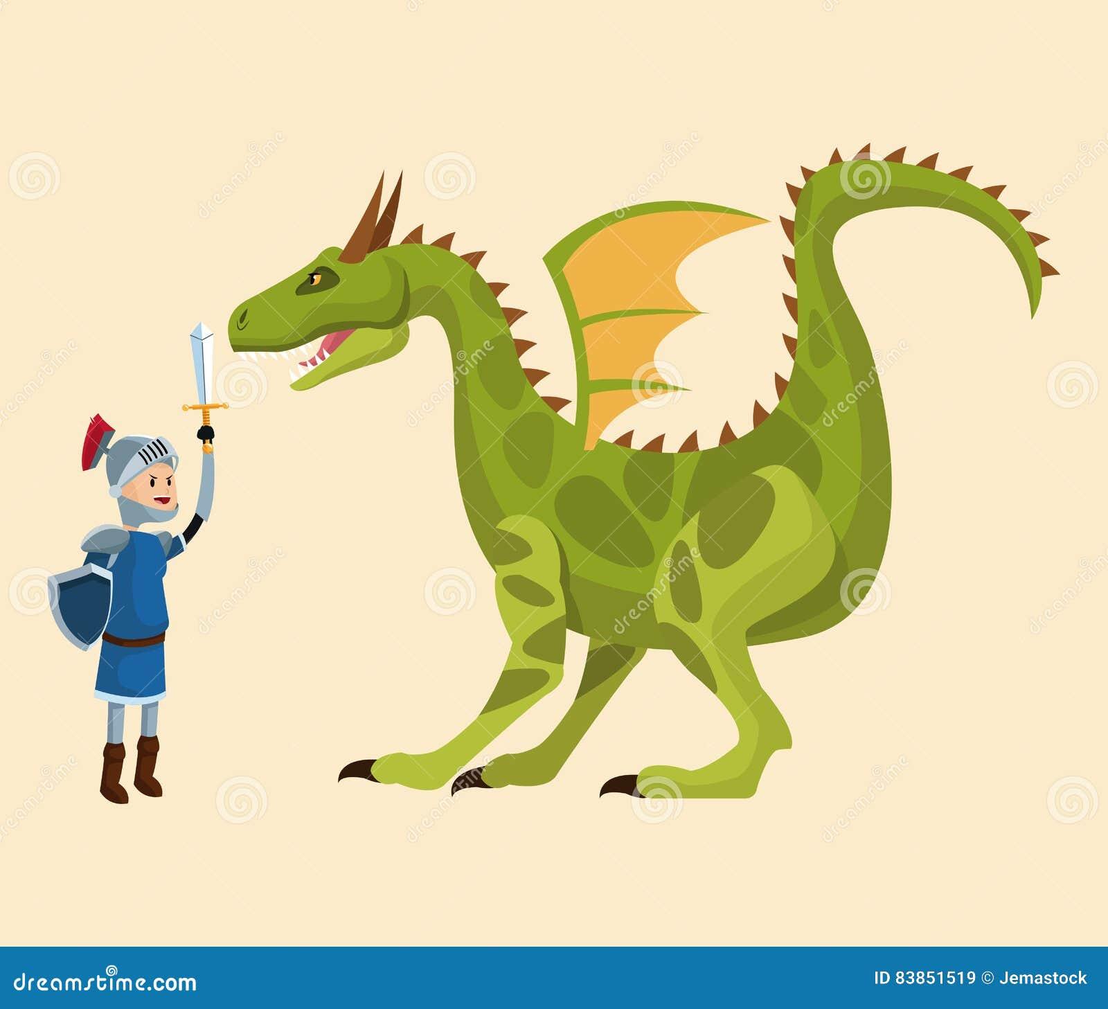 Cuento que lucha del caballero y del dragón