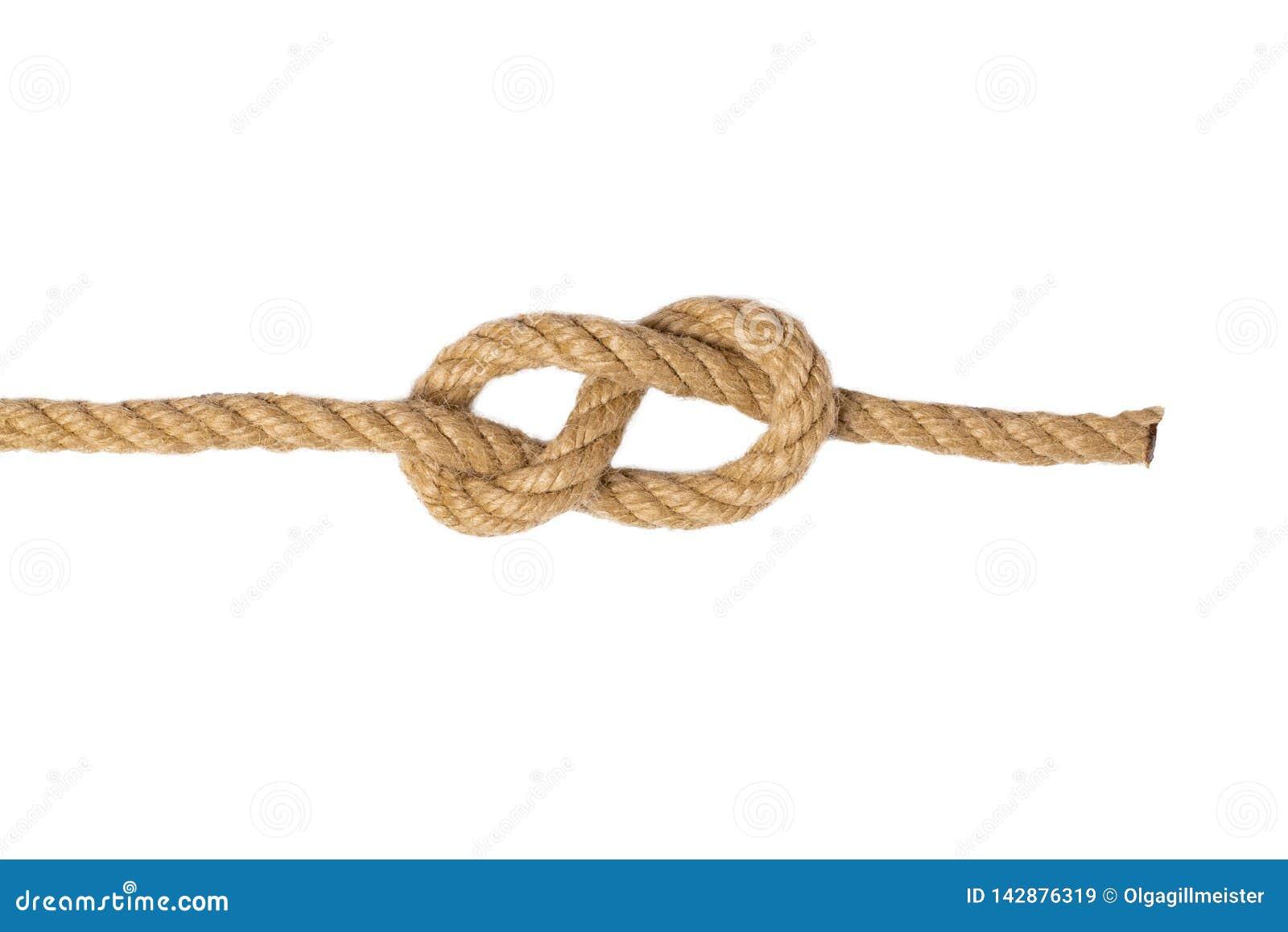 Cuerda aislada Macro del cuadro ocho nodo o nudo a partir de dos cuerdas marrones aisladas en un fondo blanco Nudo de la marina d