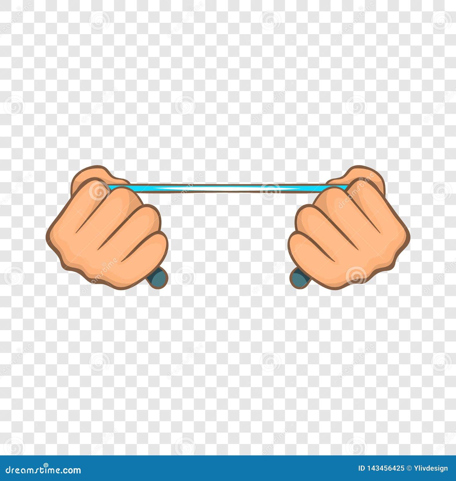 Cuerda en las manos icono, estilo de la historieta