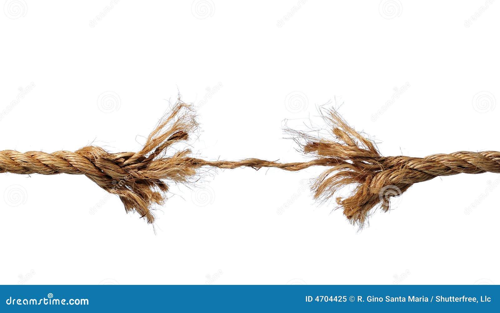Cuerda raída alrededor a romperse