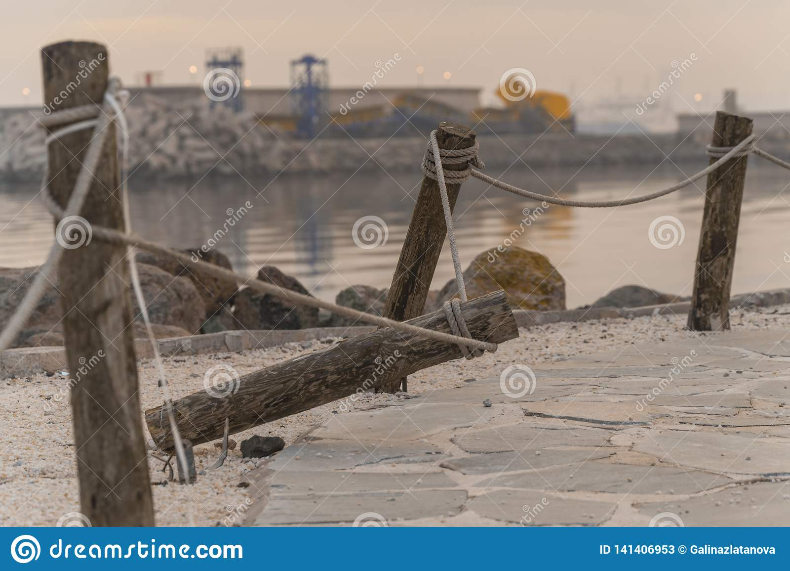 Cuerdas atadas a un árbol alrededor de la playa