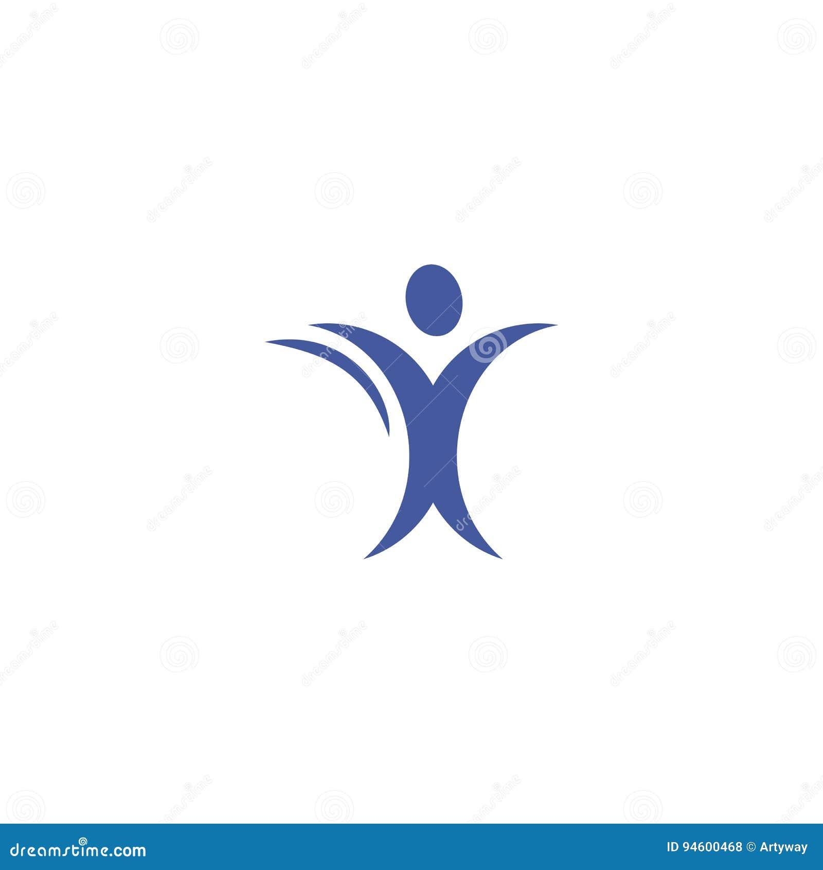 Cuerpo humano aislado del color azul abstracto en logotipo de la silueta del movimiento en el ejemplo blanco del vector del fondo