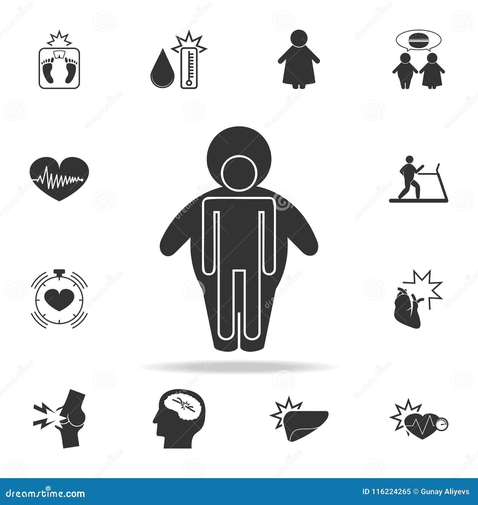 Cuerpo Humano En Un Icono Obeso De La Cáscara Sistema Detallado De ...